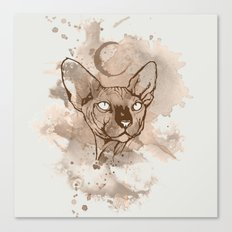 Watercolor Sphynx (Sepia/Coffee stain) Canvas Print
