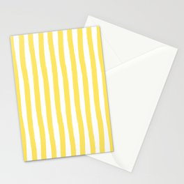 Yellow and White Cabana Stripes Palm Beach Preppy Stationery Cards