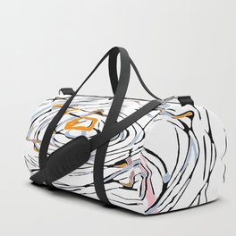 drawing square triangle and circle pattern abstract in orange blue and pink Duffle Bag