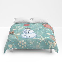 Seamless Winter Pattern with Christmas Ornaments Comforters