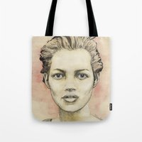 kate moss Tote Bags featuring Kate Moss by Matthäus Rojek