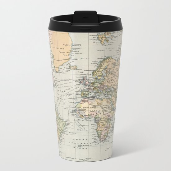 Vintage Map of The World (1892) Metal Travel Mug