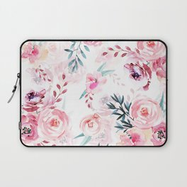 Pink Watercolor Florals I Laptop Sleeve