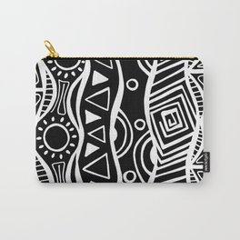 Four Waves - Freestyle Tribal Doodle Design - Black Carry-All Pouch
