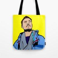 lichtenstein Tote Bags featuring Röyksopp Forever Roy Lichtenstein Inspired Portrait 1 by Alli Vanes
