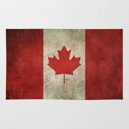 Old and Worn Distressed Vintage Flag of Canada Rug