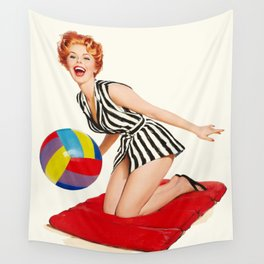 Pin Up Girl and Beach Ball Vintage Art Wall Tapestry
