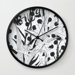 Vintage floral in black and white Wall Clock