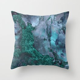 Malachite Glitter Stone and Ink Abstract Gem Glamour Marble Throw Pillow