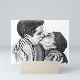 Cinema Kiss b&w Mini Art Print