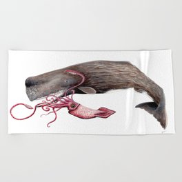 Epic battle between the sperm whale and the giant squid Beach Towel