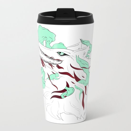 White Evil Wolf Metal Travel Mug