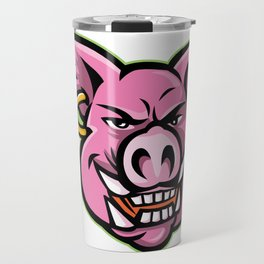 Pink Pig Wearing Earring Mascot Travel Mug