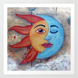 Soluna, Sun and Moon Mixed media Painting Art Print