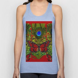 RED MONARCH BUTTERFLIES LIME COLOR PEACOCK ART Unisex Tank Top
