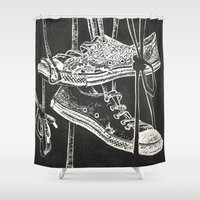 converse Shower Curtains featuring Converse by JOHNSAWVEL