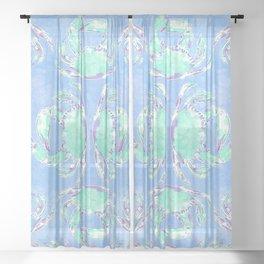 Watercolor blue crab Sheer Curtain
