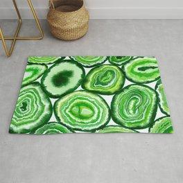 Green agate pattern watercolor Rug