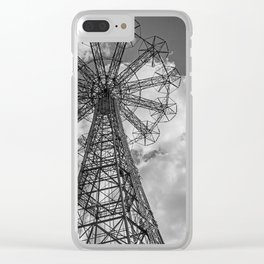 Coney Island Parachute Jump. Black and white photography Clear iPhone Case