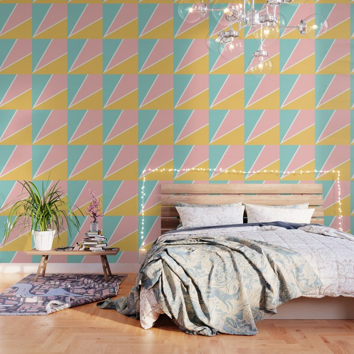 Tropical Summer Pastel Pink Turquoise Yellow Color Block Geometric