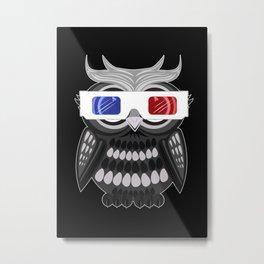 Owl - 3D Glasses Metal Print