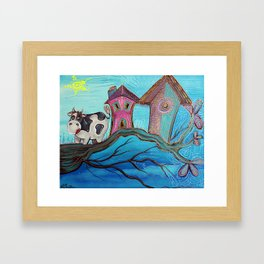 Cow In A Tree Framed Art Print