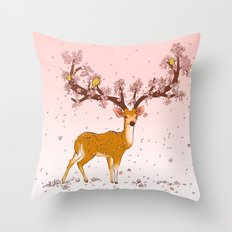 Blooming stag Throw Pillow