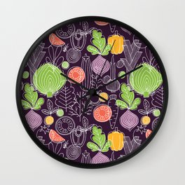 Vegetable Pattern Scandinavian Design Wall Clock