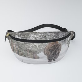 Bison Moving Through Snowy Landscape Fanny Pack
