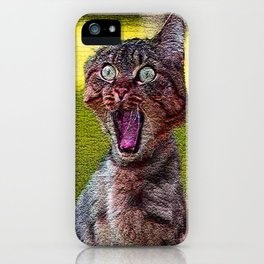 funny cat shocked iPhone Case