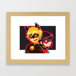 Ladybug and Cat Noir Framed Art Print