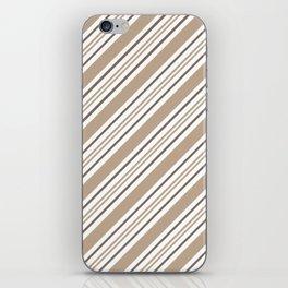 Pantone Hazelnut Nutmeg and White Thick and Thin Angled Lines - Stripes iPhone Skin