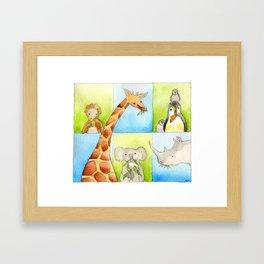Animals Eating Framed Art Print