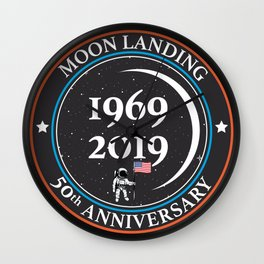 Moon landing 50th year anniversary badge Wall Clock