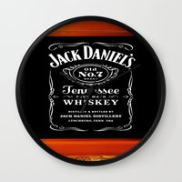 jack daniels Wall Clocks featuring JACK DANIELS by Bilqis