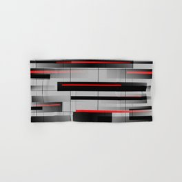 Off the Grid - Abstract - Gray, Black, Red Hand & Bath Towel