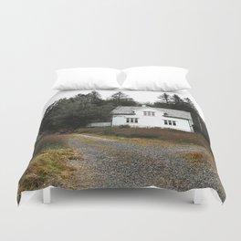 isolated house in norwegian field Duvet Cover