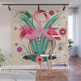Flamingo in LOVE Wall Mural