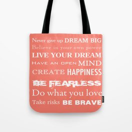 Inspirational Quotes to Live By Typography Tote Bag