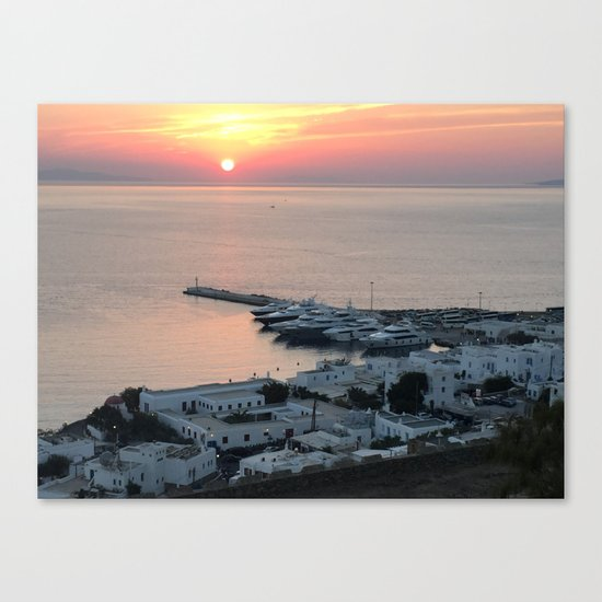 Sunset, Myconos Island, Greece Canvas Print
