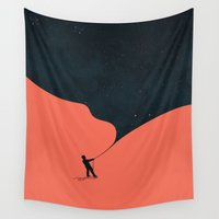gatsby Wall Tapestries featuring Night fills up the sky by Picomodi