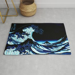 the Great Wave blue Rug