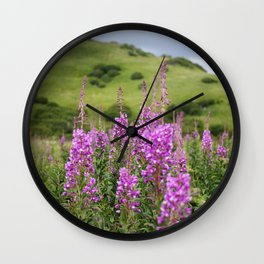 Fireweed on a Mountain Photography Print Wall Clock