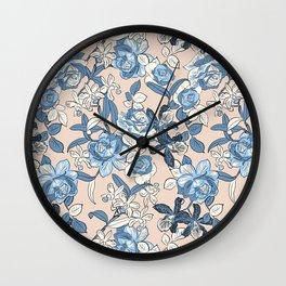 Seaside Floral Wall Clock