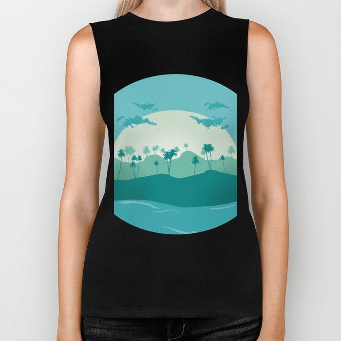 Lonely palms on tropic beach Biker Tank