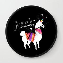 I Believe in Llamacorns Wall Clock