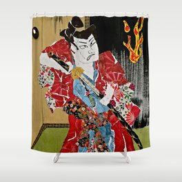 The Green Eyed Samurai Shower Curtain