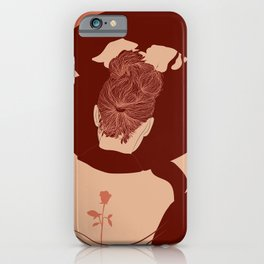Girls Back with Tattoo Looking in Mirror Minimal Earth Tones Drawing iPhone Case