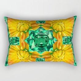 GREEN EMERALD GEMS ART V& GOLDEN MUM FLORAL PATTERNS Rectangular Pillow