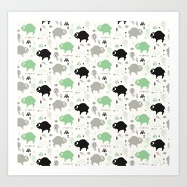 Seamless pattern with cute baby buffaloes and native American symbols, white Art Print